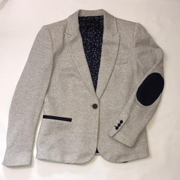 Zara heather knit jacket patch elbows
